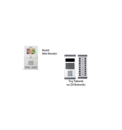 İnterkom Sistemleri APT160 M40 Görüntülü Diafon+DYF05 Daire 60